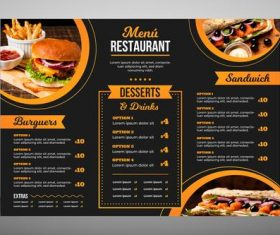 Modern restaurant menu fast food vector