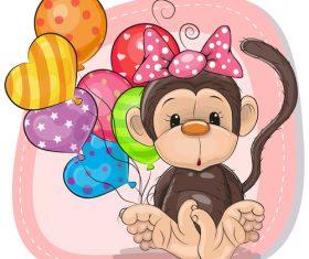 Monkey and balloon cartoon vector