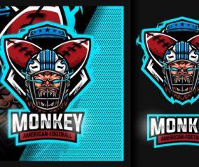 Monkey rugby mascot sport football logo vector