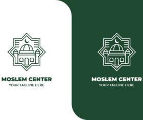 Moslem mosque islamic center logo vector