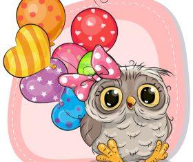Owl and balloon cartoon vector