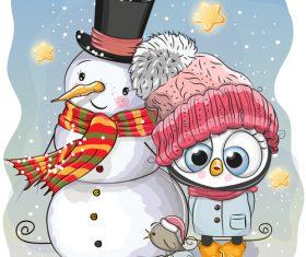 Owl and snowman cartoon vector