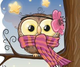 Owl cartoon vector wearing scarf on tree branch