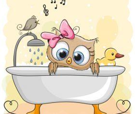 Owl in the bathtub cartoon illustration vector