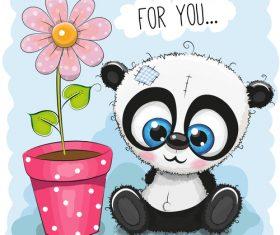 Panda sitting beside flower pot vector