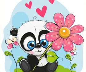 Panda vector sitting on the grass holding flowers