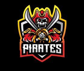 Pirates skull esport logo vector