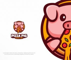 Pizza pig fast food restaurant logo vector