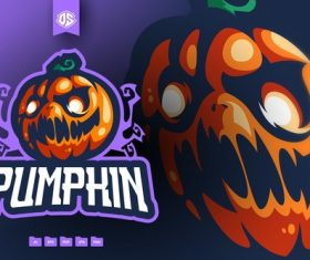Pumpkin head mascot logo vector