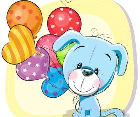 Puppy and balloon cartoon vector