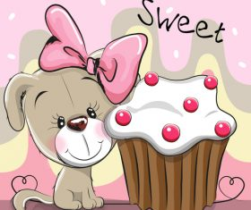 Puppy and cake vector