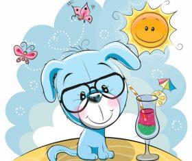 Puppy and drink cartoon illustration vector