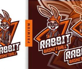 Rabbit basketball camp summer mascot logo vector