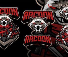Racoon ninja gaming football mascot logo vector