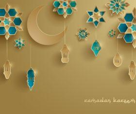 Ramadan lantern festival style card vector