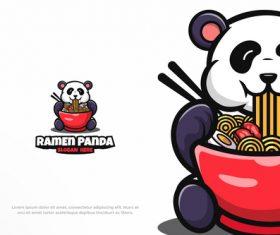 Ramen panda logo vector