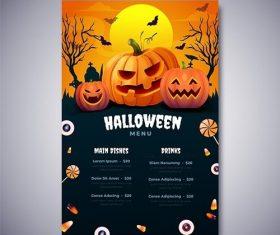 Realistic halloween menu template vector