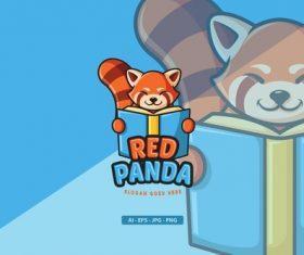 Red panda mascot logo vector
