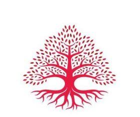 Red tree color logo vector