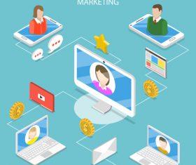 Referral marketing cartoon illustration vector