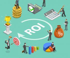 Roi business concept cartoon illustration vector