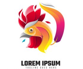 Rooster logo template vector
