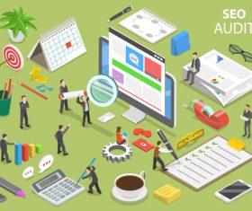 Seo audit cartoon illustration vector