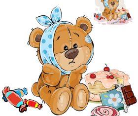 Sick teddy bear vector