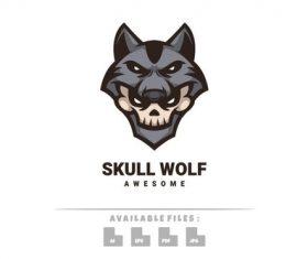Skull wolf logo vector