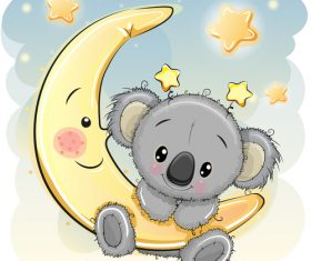 Sloth cartoon illustration vector on crescent moon