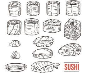 Sushi sketch illustration vector
