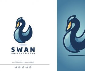 Swan color mascot logo vector