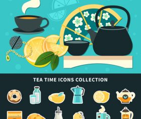 Tea time icons collection vector