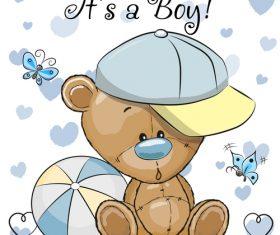 Teddy bear and ball vector