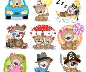 Teddy bear cartoon illustration collection vector