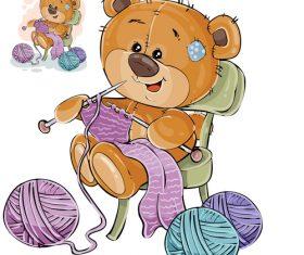 Teddy bear knitting sweater vector