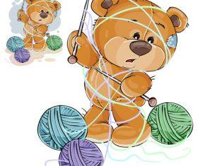 Teddy bear wrapped in wool vector