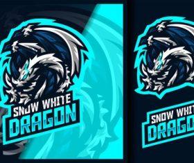 The ice dragon gaming mascot logo vector