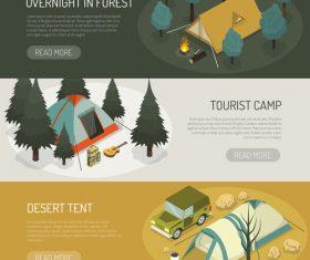 Tourist camp concept banner vector