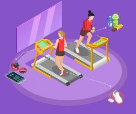 Treadmill fitness illustration vector