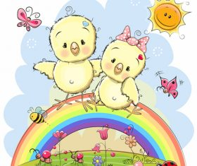 Two little chickens standing on the rainbow cartoon illustration vector
