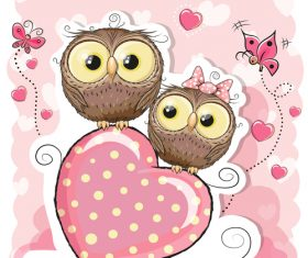 Two owl vector on heart pattern