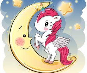 Unicorn vector standing on crescent moon