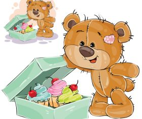 Vector of little bear opening food box