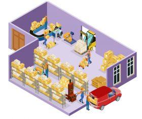 Warehouse cartoon illustration vector