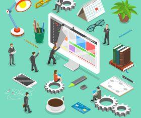 Web development cartoon illustration vector