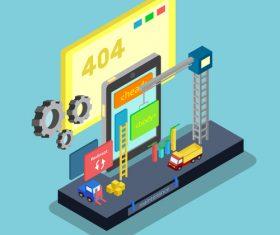 Website maintenance concept design isometric vector
