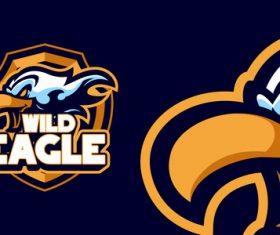 Wild eagle head mascot sports logo vector