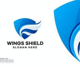 Wings shield gradient logo vector