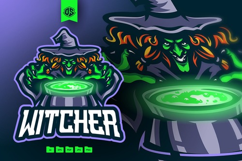 Witch mascot logo template vector